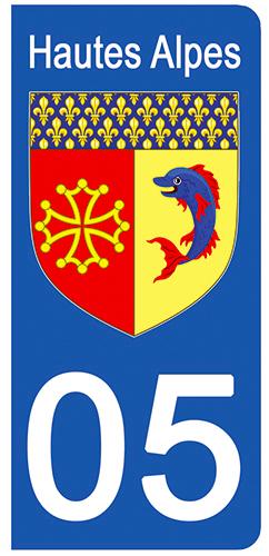 2 stickers pour plaque d\'immatriculation Auto, 05 blason Hautes Alpes