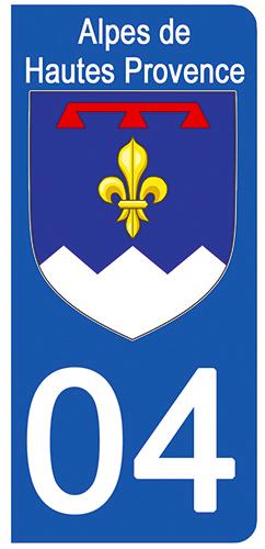 2 stickers pour plaque d\'immatriculation Auto, 04 blason des Alpes de Hautes Provence