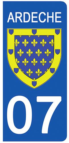 2 stickers pour plaque d\'immatriculation Auto, 07 blason de l\'Ardèche