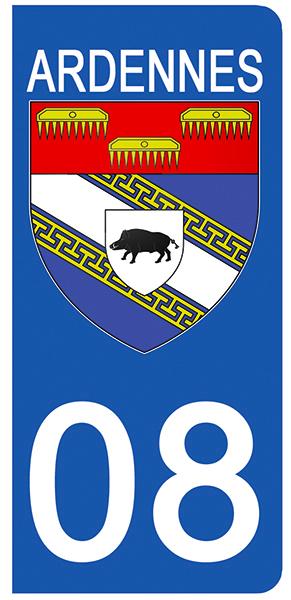 2 stickers pour plaque d\'immatriculation pour Auto, 08 blason des Ardennes