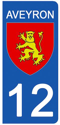 2 stickers pour plaque d\'immatriculation pour Auto, 12 blason Aveyron