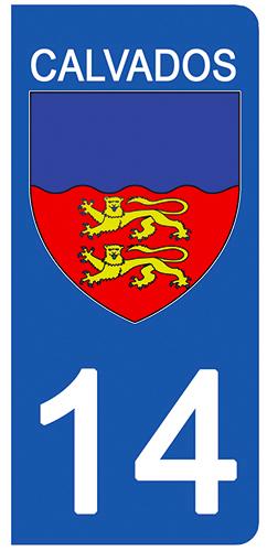 2 stickers pour plaque d\'immatriculation pour Auto, 14 blason Calvados