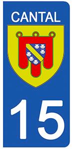 2 stickers pour plaque d\'immatriculation Auto, 15 blason Cantal