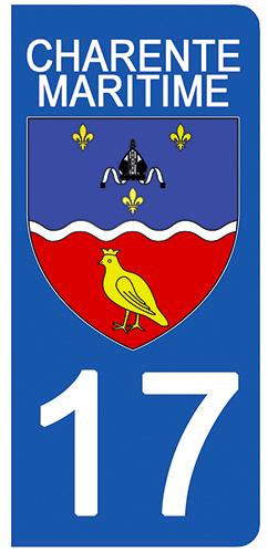 2 stickers pour plaque d\'immatriculation Auto, 17 blason Charente Maritime