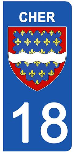 2 stickers pour plaque d\'immatriculation Auto, 18 blason du Cher
