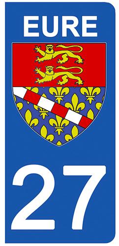 2 stickers pour plaque d\'immatriculation pour Auto, 27 blason de l\'Eure
