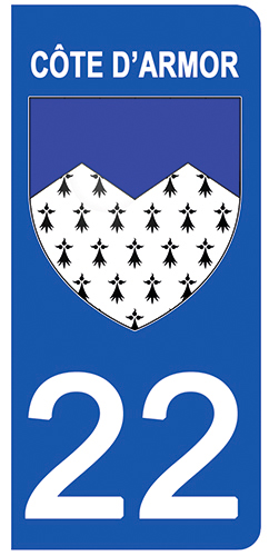 2 stickers pour plaque d\'immatriculation Auto, 22 blason Côtes-d\'Armor