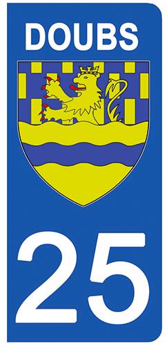 2 stickers pour plaque d\'immatriculation pour Auto, 25 blason du Doubs