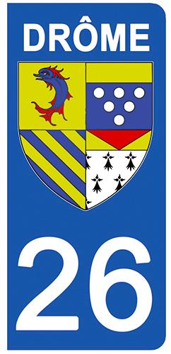 2 stickers pour plaque d\'immatriculation Auto, 26 blason de la Drôme