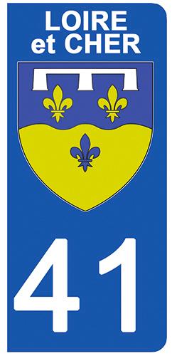 2 stickers pour plaque d\'immatriculation pour Auto, 41 blason du Loir et Cher
