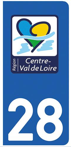 2 stickers pour plaque d\'immatriculation Auto, 28 Eure et Loir