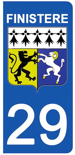 2 stickers pour plaque d\'immatriculation pour Auto, 29 blason du Finistère