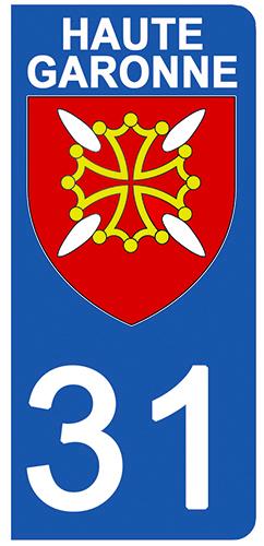 2 stickers pour plaque d\'immatriculation pour Auto, 31 blason de Haute Garonne