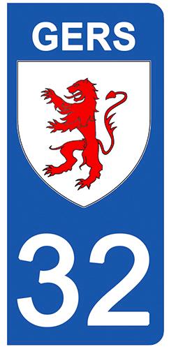 2 stickers pour plaque d\'immatriculation pour Auto, 32 blason du Gers