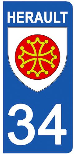 2 stickers pour plaque d\'immatriculation Auto, 34 blason de l\'Herault