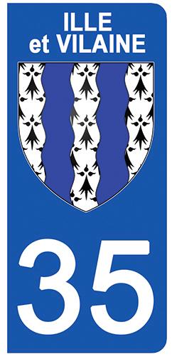 2 stickers pour plaque d\'immatriculation Auto, 35 blason de l\'Ille et Vilaine