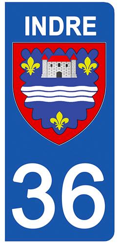 2 stickers pour plaque d\'immatriculation Auto, 36 blason de l\'Indre