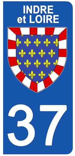 2 stickers pour plaque d\'immatriculation pour Auto, 37 blason de l\'Indre et Loire