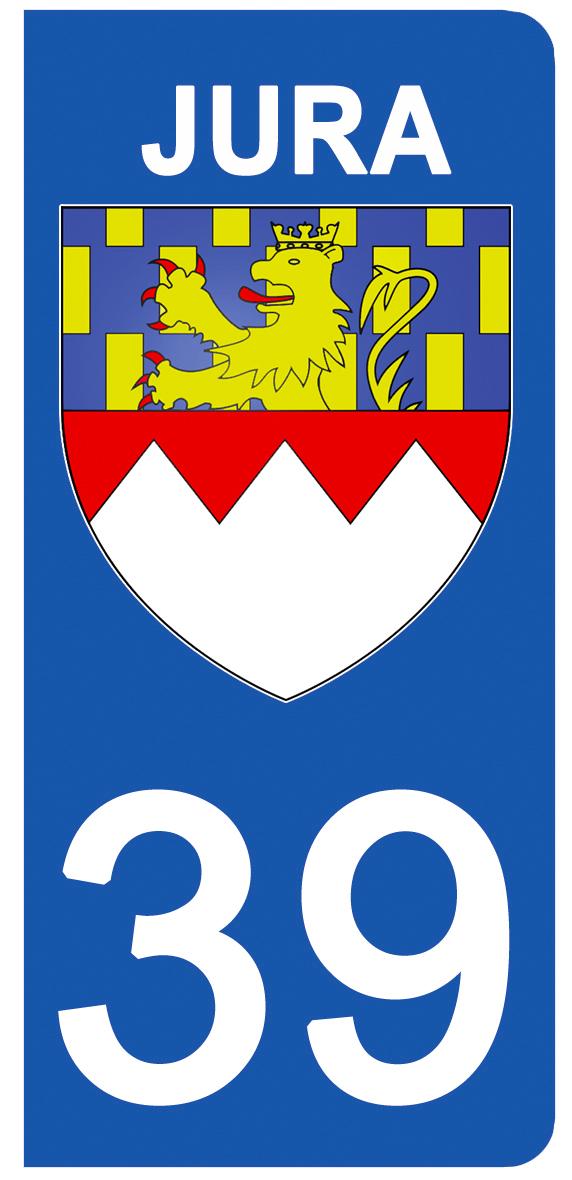 2 stickers pour plaque d\'immatriculation pour Auto, 39 blason du Jura