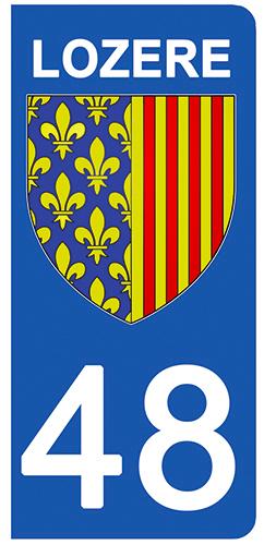2 stickers pour plaque d\'immatriculation Auto, 48 blason de la Lozère