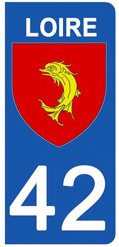 2 stickers pour plaque d\'immatriculation Auto, 42 blason de la Loire