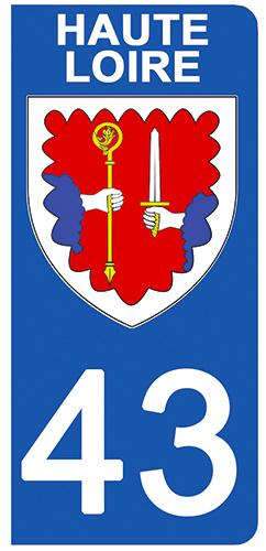 2 stickers pour plaque d\'immatriculation Auto, 43 blason de Haute Loire