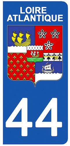 2 stickers pour plaque d\'immatriculation pour Auto, 44 blason de la Loire Atlantique