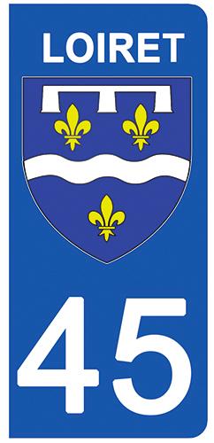2 stickers pour plaque d\'immatriculation Auto, 45 blason du Loiret