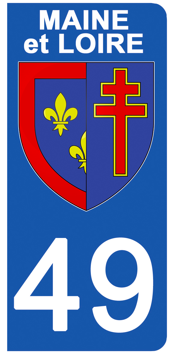 2 stickers pour plaque d\'immatriculation pour Auto, 49 blason du Maine et Loire