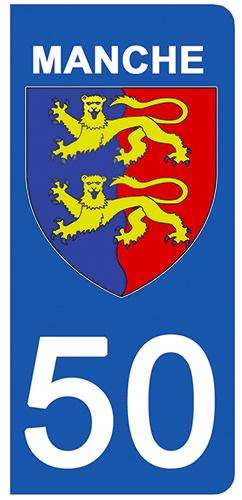 2 stickers pour plaque d\'immatriculation pour Auto, 50 blason de la Manche