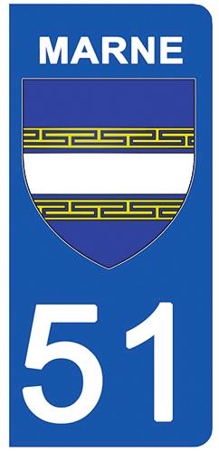 2 stickers pour plaque d\'immatriculation pour Auto, 51 blason de la Marne