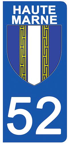 2 stickers pour plaque d\'immatriculation pour Auto, 52 blason de Haute-Marne