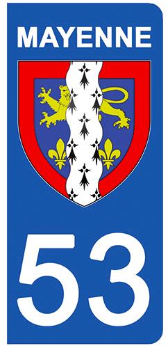 2 stickers pour plaque d\'immatriculation pour Auto, 53 blason de Mayenne
