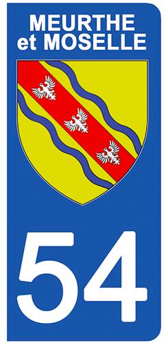 2 stickers pour plaque d\'immatriculation pour Auto, 54 blason de Meurthe et Moselle