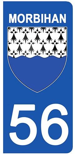 2 stickers pour plaque d\'immatriculation pour Auto, 56 blason du Morbihan