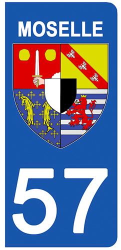 2 stickers pour plaque d\'immatriculation pour Auto, 57 blason de la Moselle