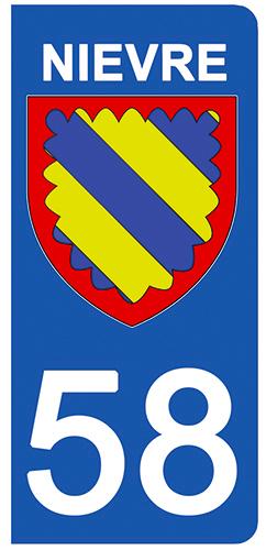 2 stickers pour plaque d\'immatriculation pour Auto, 58 blason de la Nièvre
