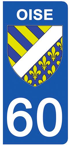 2 stickers pour plaque d\'immatriculation pour Auto, 60 blason de l\'Oise