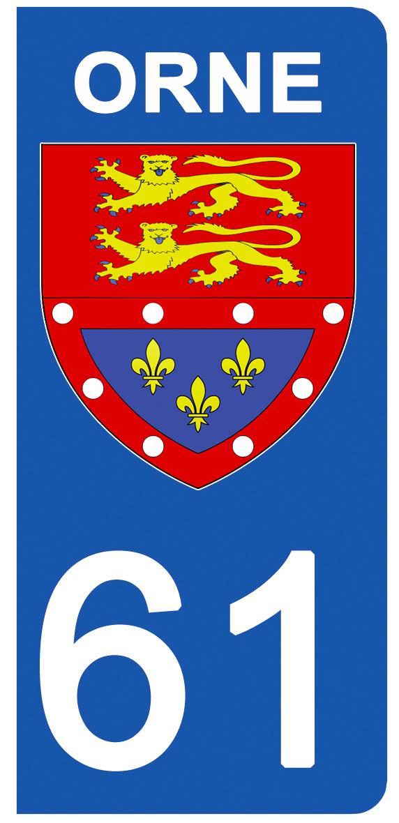 2 stickers pour plaque d\'immatriculation pour Auto, 61 blason de l\'Orne