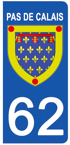 2 stickers pour plaque d\'immatriculation pour Auto, 62 blason du Pas de Calais