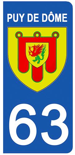 2 stickers pour plaque d\'immatriculation Auto, 63 blason du Puy de Dome