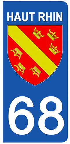 2 stickers pour plaque d\'immatriculation pour Auto, 68 blason du Haut Rhin