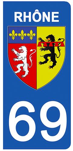 2 stickers pour plaque d\'immatriculation Auto, 69 blason du Rhône