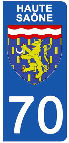 2 stickers pour plaque d\'immatriculation pour Auto, 70 blason de Haute Saône