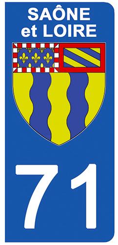 2 stickers pour plaque d\'immatriculation pour Auto, 71 blason de Saône et Loire