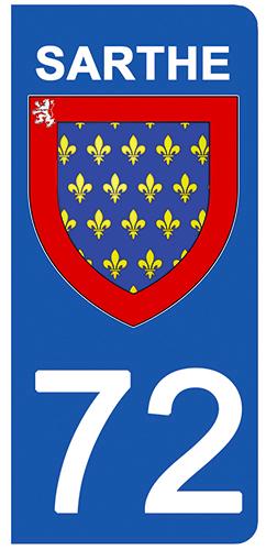 2 stickers pour plaque d\'immatriculation pour Auto, 72 blason de la Sarthe