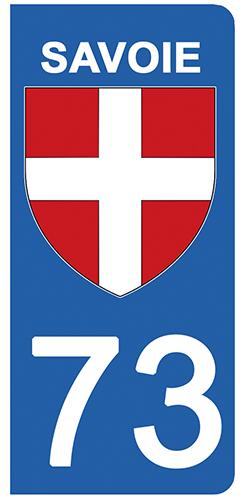 2 stickers pour plaque d\'immatriculation Auto, 73 blason de Savoie