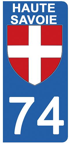 2 stickers pour plaque d\'immatriculation Auto, 74 blason de Haute Savoie