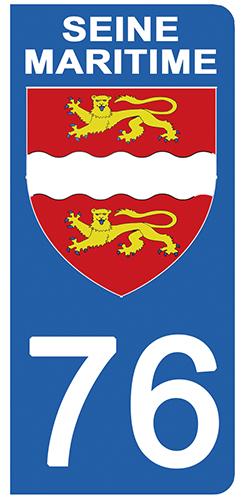 2 stickers pour plaque d\'immatriculation pour Auto, 76 blason de la Seine Maritime