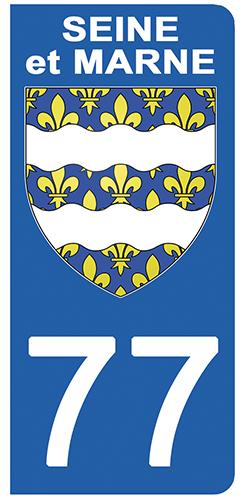 2 stickers pour plaque d\'immatriculation Auto, 77 blason de Seine et Marne